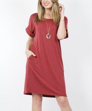 e059e1899 Brick Round-Neck Rolled-Cuff Two-Pocket T-Shirt Dress - Women