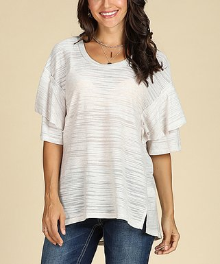 cbaa76ce17d14 Heather Gray Raw-Edge Ruffle-Sleeve Scoop Neck Tunic - Women   Plus