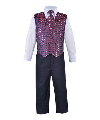 67185725cf73dc James Morgan | Blue & Burgundy Vest Suit Set - Infant, Toddler & Boys