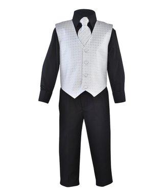 1772b091f267 James Morgan | Black & Silver Vest Suit Set - Newborn, Infant & Toddler