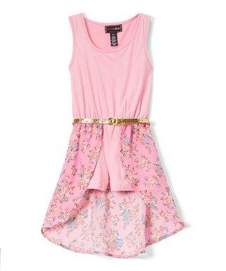 70dbc9b99 Sachet Pink Ruffle Glitter-Belt Hi-Low Walk-Through Dress - Toddler & Girls