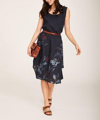 0dee82046b2 Dark Navy Floral Scoop Neck Pocket Linen Shift Dress - Women   Plus