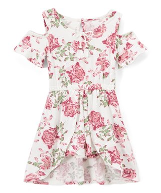 9894ac158fe Vanilla Floral Bow-Accent Shoulder-Cutout Walk-Through Midi Dress - Toddler    Girls