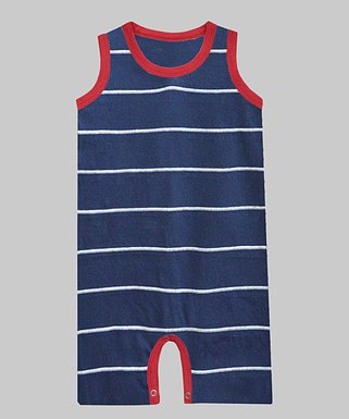 20ed289a87e0 Navy   Red Stripe Romper - Newborn   Infant