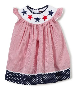 ea29b12c0a49 Lil Cactus | Red Americana Smocked Bishop Dress - Infant, Toddler & Girls