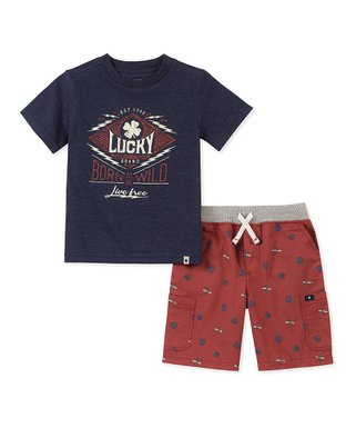a033999049 Navy Tee & Red Bear-Paw Shorts - Infant, Toddler & Boys