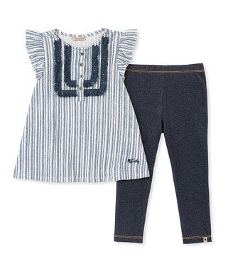 f32d35a24ee49 Blue Stripe Cap-Sleeve Top & Blue Leggings - Toddler & Girls