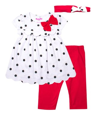 779e417fa30af Nannette Kids | White & Black Dot Scallop-Hem Top Set - Infant, Toddler