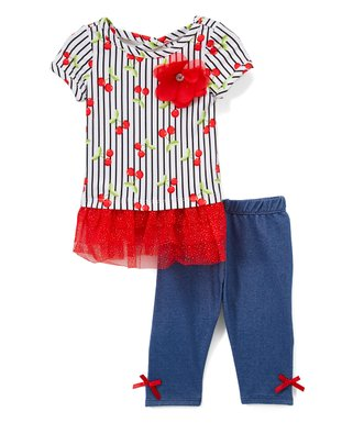 695c3972c White & Red Cherry Stripe Tulle-Accent Tunic & Blue Bow-Accent Leggings -