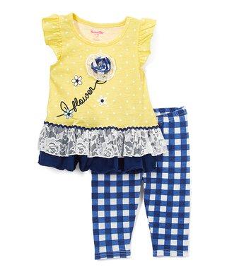 d2d9aaa22864 Yellow  Flower  Angel-Sleeve Tunic   Blue Gingham Leggings - Infant