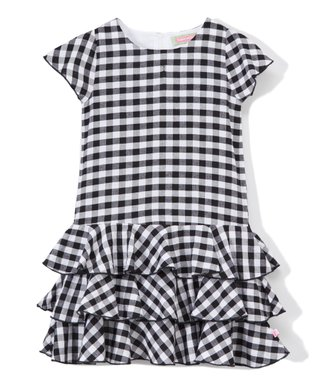 0e44671359f3 Black   White Gingham Tiered-Ruffle Angel Sleeve Dress - Infant