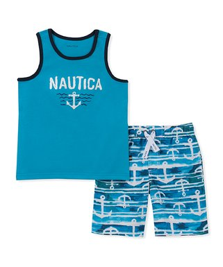 4881853f408be Blue 'Nautica' Tank & Blue Anchor Shorts - Toddler
