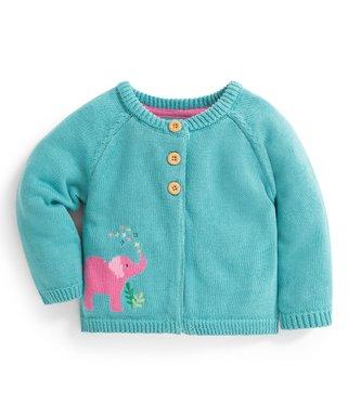 58979a0b JoJo Maman Bébé   Duck Egg Elephant Cardigan - Infant & Girls