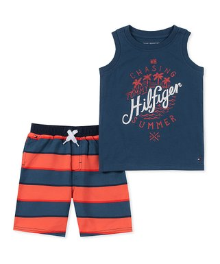 02d7318ec65f3 Orange & Blue Stripe Muscle Tank & Shorts Set - Toddler