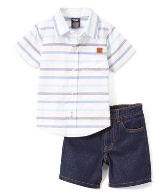 ec6ce9a64a Blue Stripe Short-Sleeve Button-Up & Blue Denim Shorts - Infant