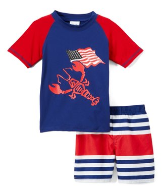 4cc6efc71d Red & Navy Lobster & Flag Rashguard & Stripe Swim Shorts - Infant & Toddler