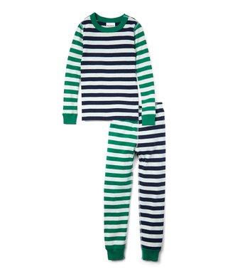 e81bfbd8b Hanna Andersson | Navy Stripe Mix It Up Organic Cotton Long John Pajama Set  - Boys