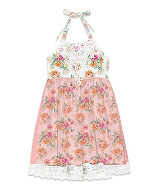 Coral Floral Lace-Accent Scallop-Hem Halter Dress - Toddler   Girls bffd88b5b