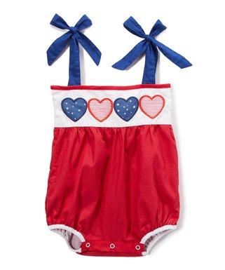 c731580995 Red, White & Blue Americana Star & Stripe Heart Appliqué Romper - Infant &  Toddler