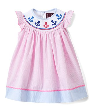41938b15f5b7 Pink Anchor Smocked Angel-Sleeve Dress - Infant