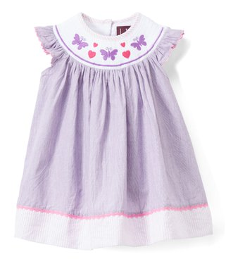 78734093fd97 Purple Butterfly Smocked Angel-Sleeve Dress - Infant, Toddler & Girls