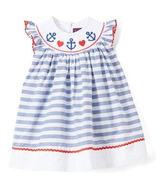 e6c27bee4364 Lil Cactus | Blue & White Stripe Anchor Smocked Angel-Sleeve Dress - Infant,