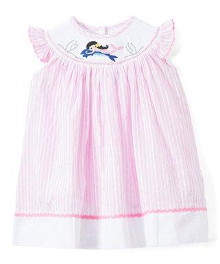 71a74641219e Lil Cactus | Pink Stripe Mermaid Smocked Angel-Sleeve Dress - Infant,  Toddler &