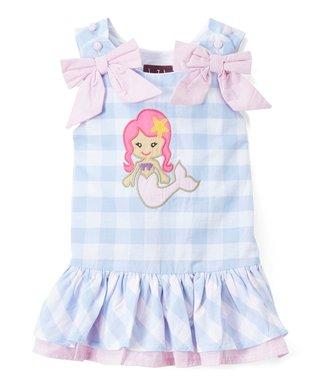 3c9c31a75 Lil Cactus   Light Blue Plaid Mermaid Appliqué Drop-Waist Dress - Infant,  Toddler