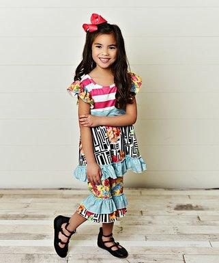 508e8fc022771 Coral & Mint Stripe Floral Angel-Sleeve Top & Capri Pants - Girls