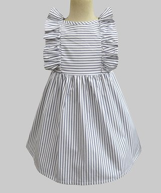 dc47a4e941f Navy   White Stripe Ruffle Sleeveless Dress - Infant