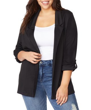 7dca40a054f Black Beauty Roll-Sleeve Blazer - Plus
