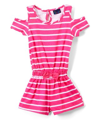 68ca4fb810ae Fuchsia Stripe Shoulder-Cutout Romper - Infant   Toddler