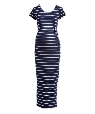 748f813943217 Times 2 | Navy & White Stripe Drawstring-Waist Maternity Maxi Dress