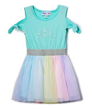 935f9db00 Freestyle Revolution | Aqua Rainbow 'Love' Tutu Dress - Girls