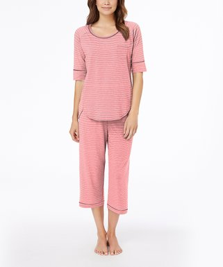 a0bcf1618 Cuddl Duds | Coral Heather Double Stripe Pajama Set - Women