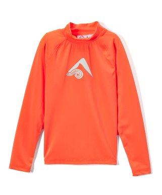 6cc90d26de3d9 Neon Orange Keri Long-Sleeve Rashguard - Toddler & Girls