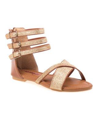50646f4ad5d Tan   Gold Gladiator Sandal - Girls