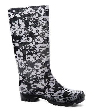 8da14f7dd8d Black Floral Jelly Rain Boot - Women