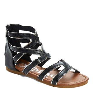 46ed29bb5c74 Black   Silver Metallic Gladiator Sandal - Girls