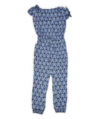 ba9c75ebd Navy & Bright Blue Geometric Jumpsuit - Girls