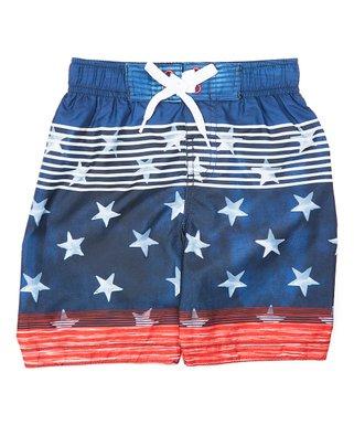 88b96246656 Blue   Red Stars   Stripes Swim Shorts - Toddler ...