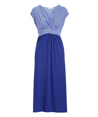9bf51a263668d Blue Stripe Surplice Maxi Dress - Women   Plus