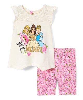 8066e758d Children's Apparel Network   Disney Princess Off-White 'Lead' Angel-Sleeve  Tee