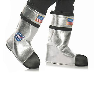 Astronaut Costume Boot Tops   Silver