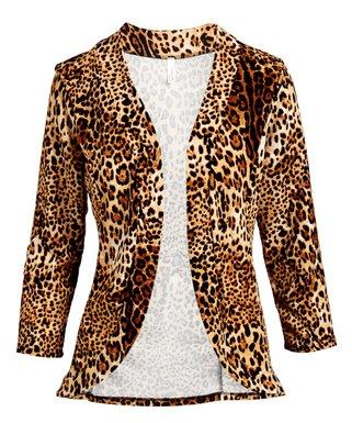 620583e74973 Leopard Curved-Hem Open Blazer - Women