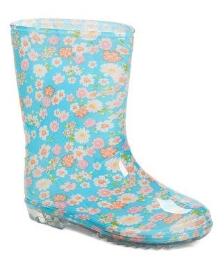 930d8a4194c1 Blue   Orange Floral Rain Boot - Girls