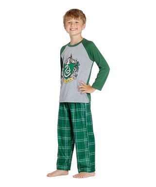 4629944709 Harry Potter Green Plaid  Slytherin  Raglan Pajama Set - Toddler   Boys