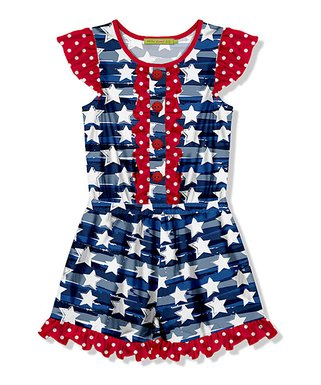 fc8c88a6b Millie Loves Lily | Navy Stripe Star Button-Front Romper - Girls