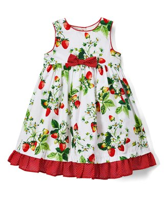 9c20224d1aef White & Red Strawberry A-Line Dress - Infant & Girls