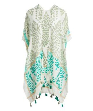 264692f984 White   Green Tassel Kimono - Women